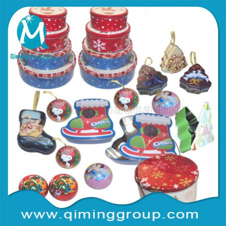 Christmas Gift Tin Boxes Gift Tin Cans Packaging -Qiming Packaging