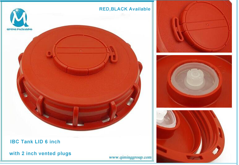 IBC TOTE LIDS 6 INCH RED BLACK DETAILED IMAGE