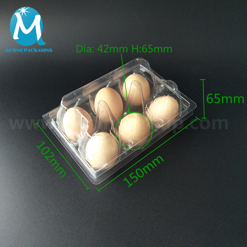 6 pcs clear plastic egg tray