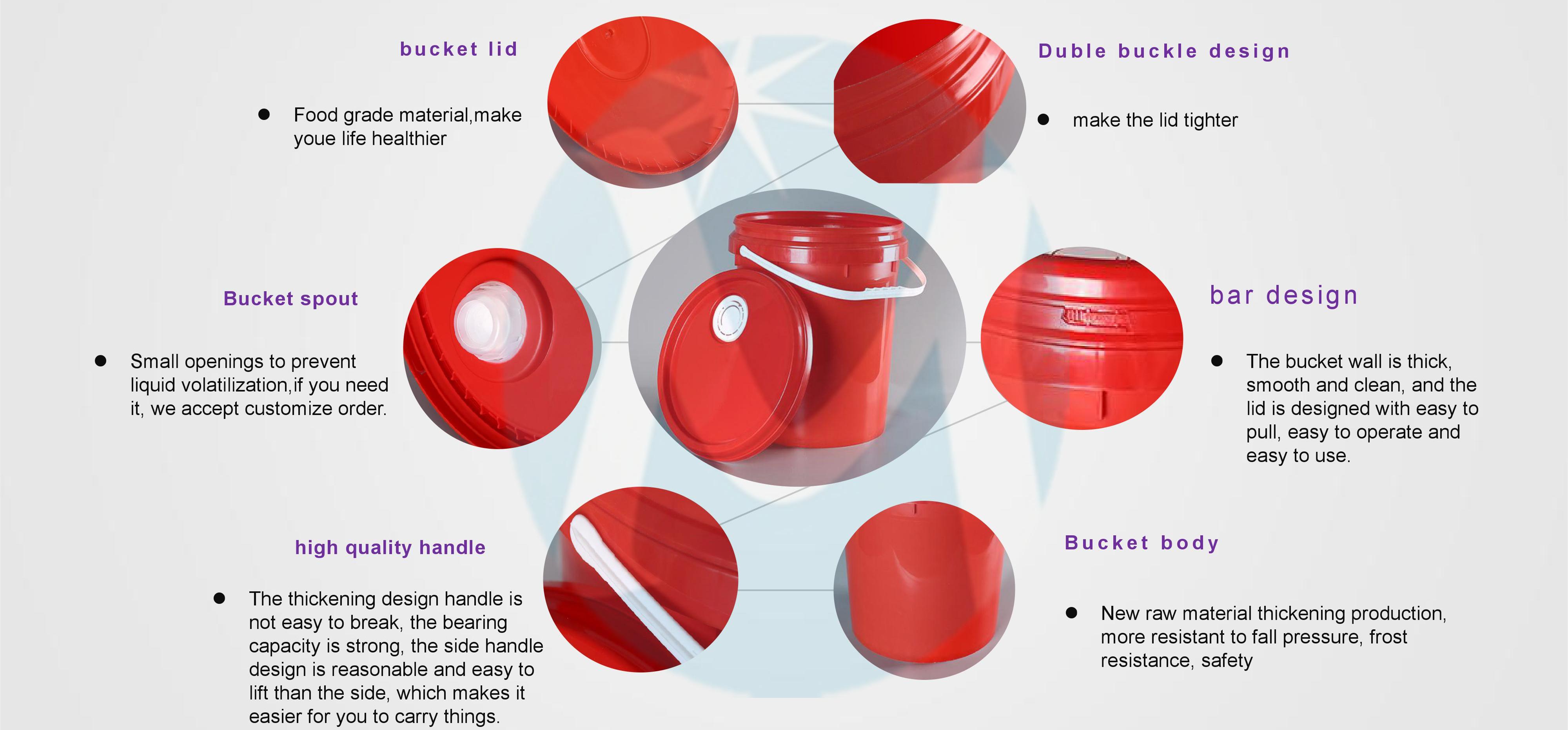 plastic round bucket details