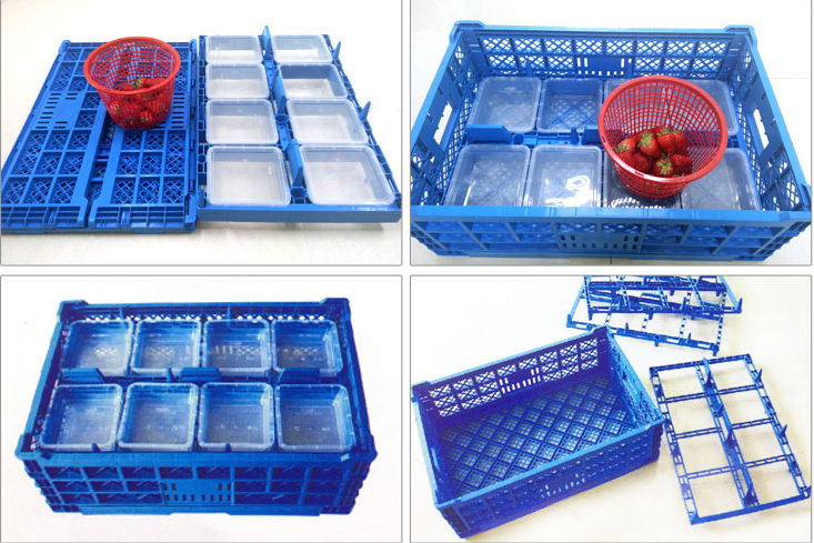Plastic folding turnover crates