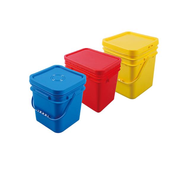 qiming 2L-25 L food grade plastic square buckets rectangular pails with customized logo