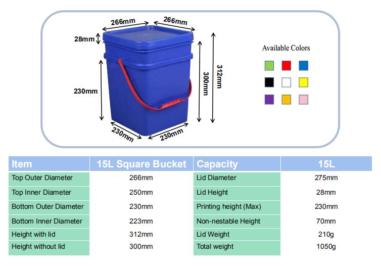 3 gallon plastic square buckets pails barrel container