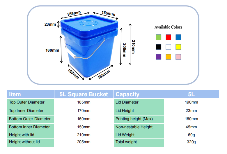 1 gallon plastic square buckets manufacturers