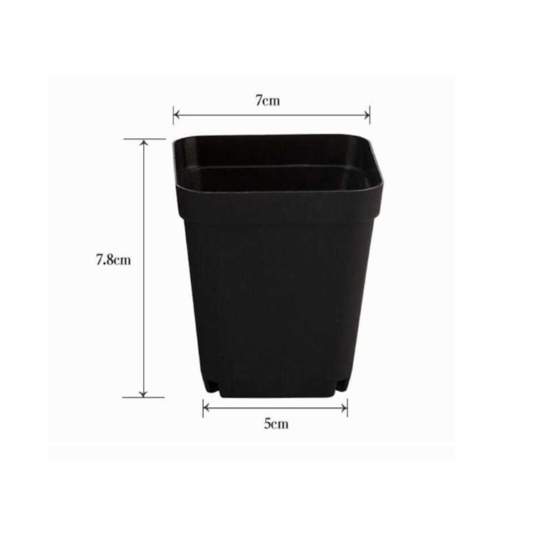 size of plastic square pots