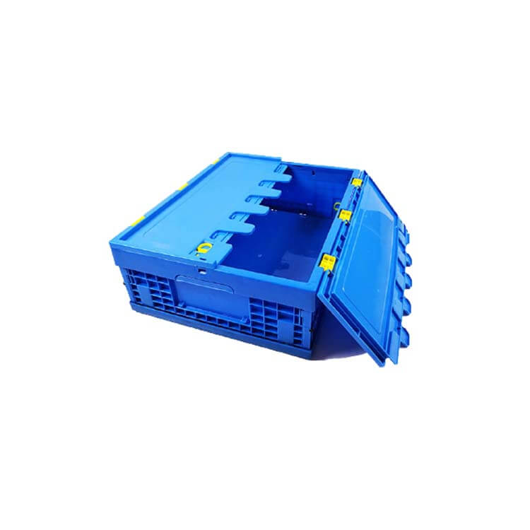 Collapsible plastic foldable storage crates with lid
