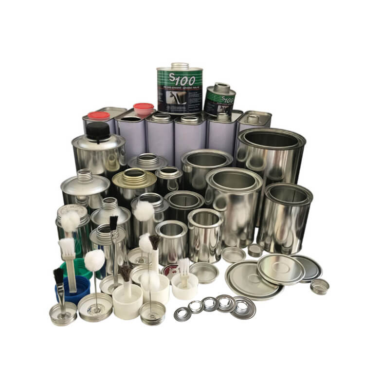 PVC/UPVC/CPVC glue tin can, screw top round cans, cylinder metal tin cans