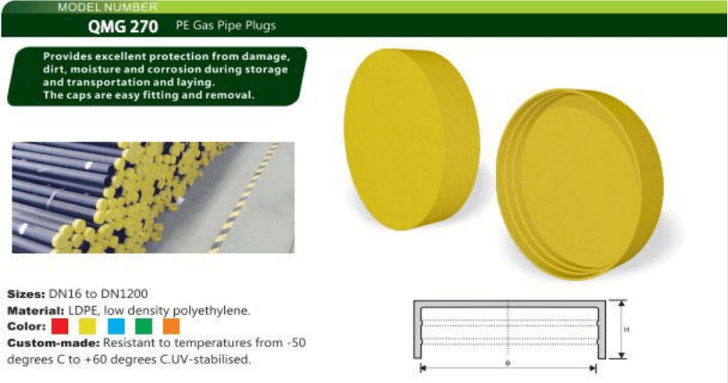 PE gas pipe end caps